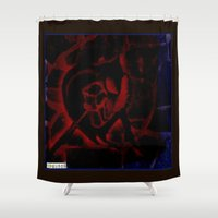 anarchy Shower Curtains featuring anarchy love by Eve Divyn