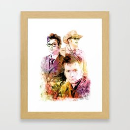 David Tennant/Doctor Who inspired Mixed Media Watercolor Portrait Framed Art Print