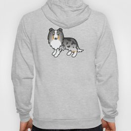 Blue Merle Shetland Sheepdog Dog Cartoon Illustration Hoody
