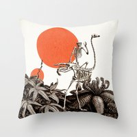 death Throw Pillows featuring Death by Dorian Danielsen