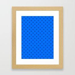 Black on Brandeis Blue Snowflakes Framed Art Print