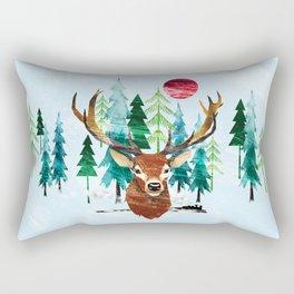 Deer and Steam Train Rectangular Pillow