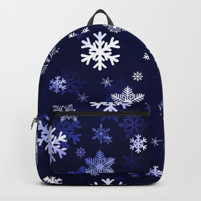 Dark Blue Snowflakes Backpack