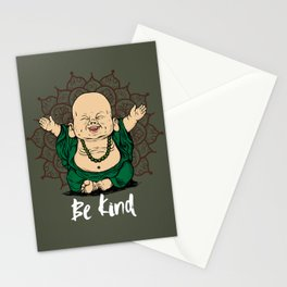 Be Kind Little Buddha Cute Smiling Buddha over mandala Stationery Cards