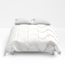 Simply Deconstructed Chevron White Gold Sands on White Comforters