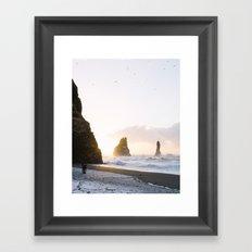 Chasing gold - Iceland | landscape - photography - travel - sunrise - beach - nature - gold Framed Art Print