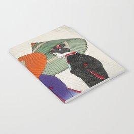 Women walking in the rain - Vintage Japanese Woodblock Print Notebook