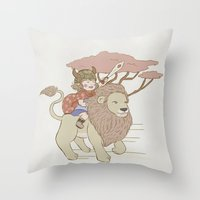 onward Throw Pillows featuring Onward Feline Steed! by PaperPanda Books