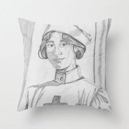 Nurse pencil sketch Throw Pillow