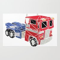 optimus prime Area & Throw Rugs featuring The Optimus Prime by Josh Ln