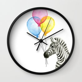 Zebra with Balloons Watercolor Baby Animals Wall Clock