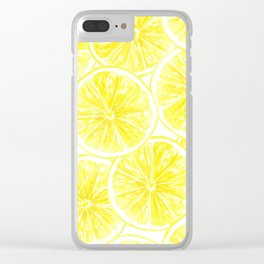 Lemon slices pattern watercolor Clear iPhone Case