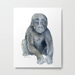 Baby Gorilla Watercolor Metal Print