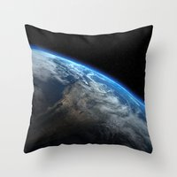 earth Throw Pillows featuring Earth by Space99