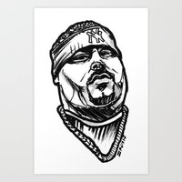 pun Art Prints featuring Big Pun by sketchnkustom