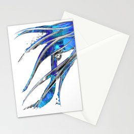 Abstract Blue And White Art - Flowing 5 - Sharon Cummings Stationery Cards