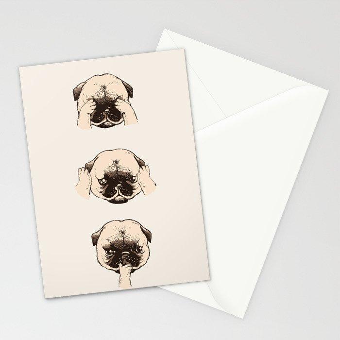 No Evil Pug Stationery Cards