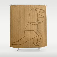 dino Shower Curtains featuring Origami - Dino by Fernando Vieira