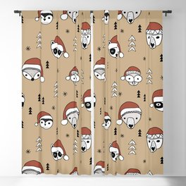 Scandinavian geometric woodland santa indian animals christmas pattern terra cotta red Blackout Curtain