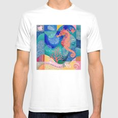 Seahorse collage MEDIUM White Mens Fitted Tee