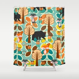 Magical forest with foxes and bears Shower Curtain
