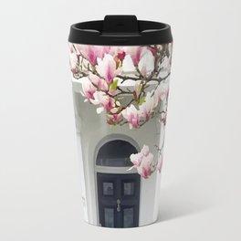 House and pink tree Travel Mug