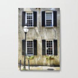 Charleston Windows And Lamp Post Metal Print