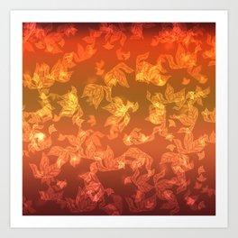 Autumn leaf fall. The bokeh effect. Art Print