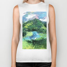 Gunnison: a vibrant acrylic mountain landscape in greens, blues, and a splash of pink Biker Tank
