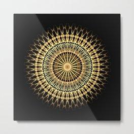 Black Gold Mandala Metal Print
