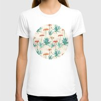 50s T-shirts featuring Flowering Succulent Pattern in Cream, Coral and Green by micklyn