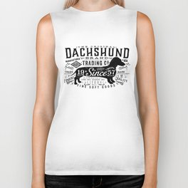Dachshund trading company long dog graphic art illustration typography Biker Tank