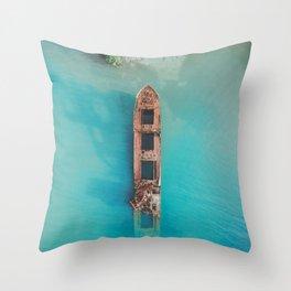Roatan Island Shipwreck Throw Pillow