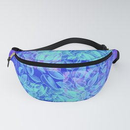 colorful pastel blue geometrical shapes pattern print with painted leaves design Fanny Pack