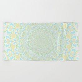 Blue Yellow and Green Mandala 3 Beach Towel