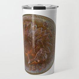 Pristine Indian Head penny on white background Travel Mug