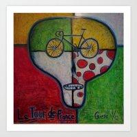 tour de france Art Prints featuring tour de france skull by mike giese