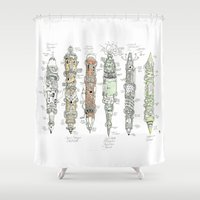 tool Shower Curtains featuring tool for fools by hueroth