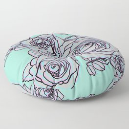 Electric Pop Art Roses on Blue Floor Pillow