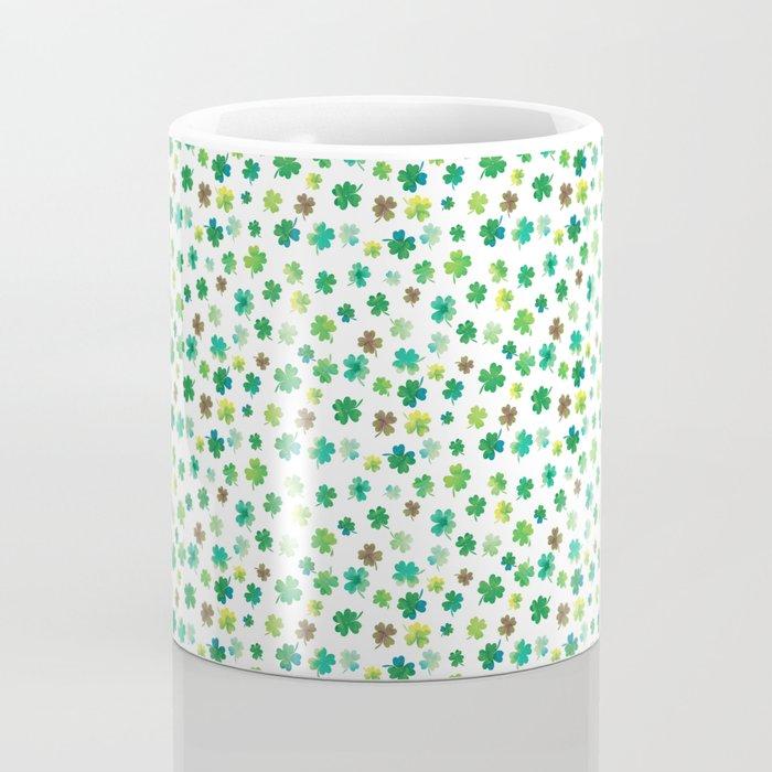 Lucky Watercolor Clovers Coffee Mug