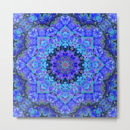 Blue Hydrangea Mondala Metal Print