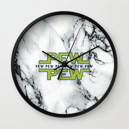 Marble white pew Wall Clock