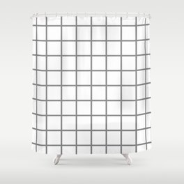 GRID DESIGN (GREY-WHITE) Shower Curtain