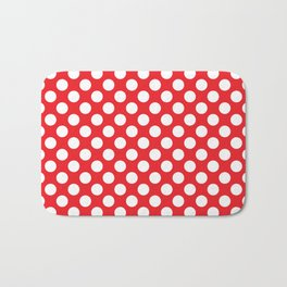 White Polka Dots with Red Background Bath Mat