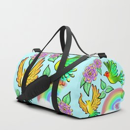 Birds Flowers and Rainbows Doodle Pattern Duffle Bag