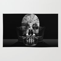 skull Area & Throw Rugs featuring Room Skull B&W by Ali GULEC