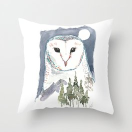 She Watches Over the Night Throw Pillow