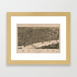 Perspective Map of Little Rock, Arkansas (1887) Framed Art Print