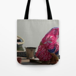 Woman in Pink Sari by Ganges Tote Bag