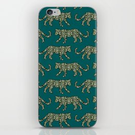 Kitty Parade - Olive on Dark Teal iPhone Skin